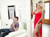 Fucking hot milf in red dress Jarushka Ross seduces fellow of her step son