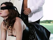 Cuffed chick on a leash Jenna Ross is fucked by horny owner