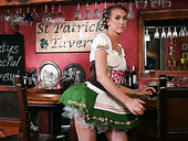 Sex-hungry barmaid Stefanie Joy enjoys playing with pussy sitting on the bar stool