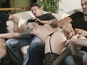 Tattooed whore wife Rachael Madori is fucked by cuckold husband and his friends