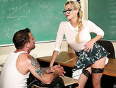 Strict teacher Keira Nicole seduces student and has crazy sex right on the desk