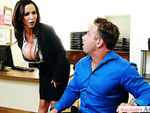Fucking hot busty office slut Nikki Benz seduces new employee and gets fucked on his table
