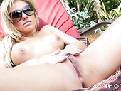 Blonde Aubrey Adams sucks big dick outdoor and licks balls with pleasure