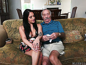 Aria Rose enjoys eating anus and balls of one old fart