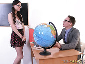 Pretty college slut Arwen Gold is fucked by horny teacher right on the desk