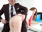 Sweet looking intern Suzi is fucked by horny boss right on the table