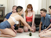 Sexy student chicks and nasty Anny Aurora play spin the bottle for the first time