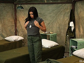 Sexually charged military girl Alexa Jaymes masturbates in the barracks