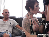 Cuckold husband enjoys watching how stranger fucks his tattooed whore wife with pierced pussy