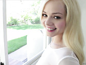 Charming blonde Elsa Jean guzzles big and juicy dick on a pov camera