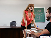 Sex-hungry busty teacher Darla Crane is fucked by horny student right on the table
