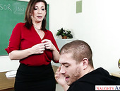Fucking hot busty teacher Sara Jay gives titjob and gets rammed right on the table