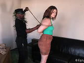 Plump red haired chick Harley Ace is punished by BBC in the dark room