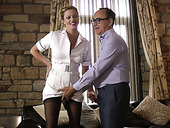 Sexy nurse in whorish uniform Holly Kiss is fucked by old doctor