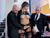 Russian whore Anna Polina has dirty sex with two bouncers at the private party