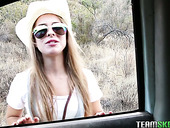 Slitty fellow traveler Lilly Ford gives blowjob in the car and gets fucked outdoor
