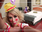 Hot tempered Asian bitch wearing clown costume Asa Akira takes part in hot threesome