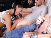 Whorish chick Penelope Cum tries to satisfy group of furious dudes
