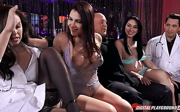 Fucking hot brunette with big tits Valentina Nappi is taking part in crazy group sex video