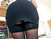 Leggy secretary in stockings Nesty gets her pussy licked and fucked right on the stepladder