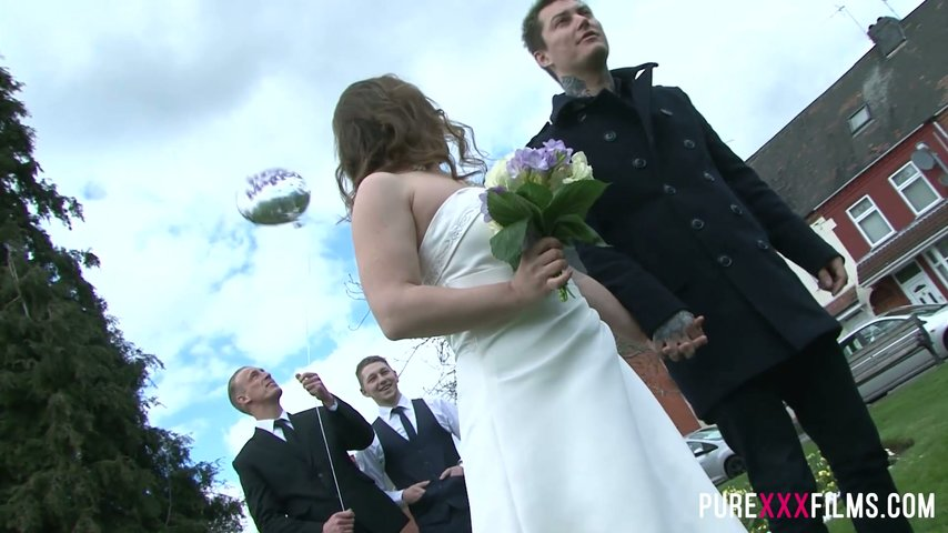 Whore bride Olga Cabaeva is fucked by horny best man during wedding ceremony