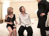 Asian whore Rui Hayakawa is having sex with two clients at the same time
