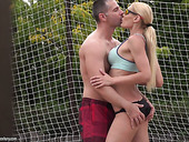 Gorgeous seductress Kitana Lure gets her anus rammed on the volleyball court