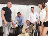 Slut Billie Star enjoys having crazy sex with several sex-hungry studs