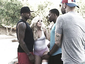 Super whorish blonde Vikky Tiky is fucked by a duo of black dudes