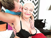 Old blonde with juicy boobs Betsy B is fucked by hot tempered young dude