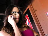 Dava Foxx wants to improve cock sucking skills and visits glory hole room