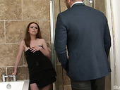 Ginger hottie Ella Hughes enjoys having wild sex in the bathroom