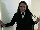Cute college babe wearing uniform Audrey Aguilera is fucked in hot pov clip