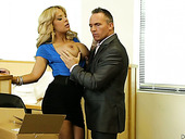 Whorish secretary with huge fake jugs Alyssa Lynn goes wild in the office