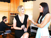 Lecherous milf India Summer and her naughty girlfriend share one hard pole