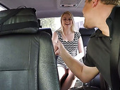 Nasty blonde Jerry has dirty sex in the car and takes cumshots in her mouth