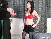 Young brunette Helga sucks dick before steamy doggy style sex