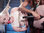 Suspended and tied up blonde is punished by sassy Electro Slut Daisy Ducati