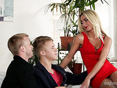 Gorgeous blonde Victoria Puppy is having dirty sex with two bisexual dudes