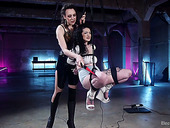Suspended and tied up bitch is punished by mistress Lilith Luxe
