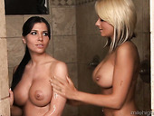 Adorable busy seductress Rebeca Linares and masseuse make love after massage