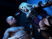 Bald headed dude fucks tied up and restrained whore Georgie Lyall