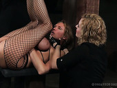 Cruel mistress punishes nasty chick Rain DeGrey wearing only fishnet pantyhose
