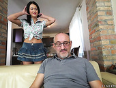 Sex-hungry young chick Nikky Perry enjoys riding old dick
