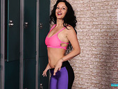 Sport hottie Cassie Clarke strips in the locker room