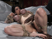 Spoiled dude punishes twat and anus of tied up busty harlot Arabelle Raphael