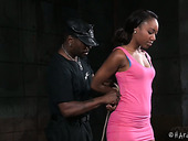 Slutty chick Chanell Heart is tied up and suspended in the torture room