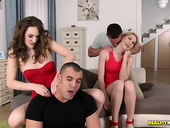 Pretty Alice Marshall and her kinky GF take part in group sex