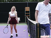 Topless chick Natalia Starr enjoys having dirty sex on the tennis court