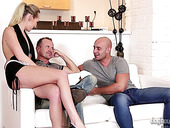 Sexy maid Jenny Simons enjoys having hardcore sex with two dudes